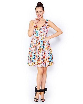 FLOWERSCAPE SCUBA DRESS