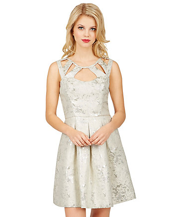 FOIL BROCADE CUTOUT DRESS