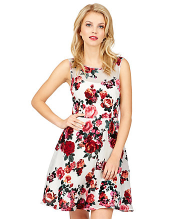 FROLICKING FLOCKED FLORAL DRESS