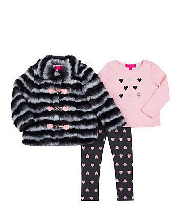FUZZY FUN TODDLER THREE PC JACKET SET