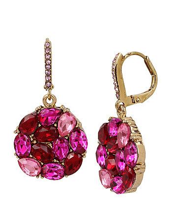GARDEN OF EXCESS PINK CLUSTER DROP EARRING