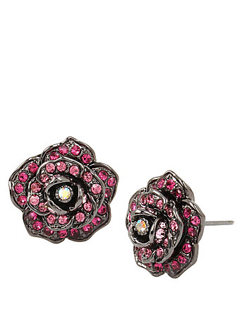 GARDEN OF EXCESS ROSE BUTTON EARRING