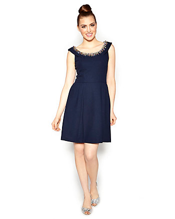 GEM NECKLINE DRESS