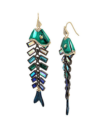 GLITTER REEF FISHBONE EARRINGS