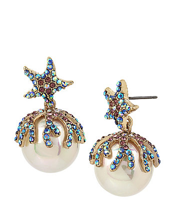 GLITTER REEF PEARL DROP EARRINGS