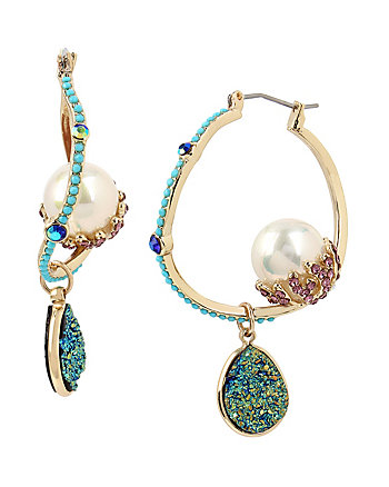 GLITTER REEF PEARL HOOP EARRINGS