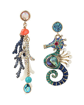 GLITTER REEF SEAHORSE MISMATCH EARRINGS