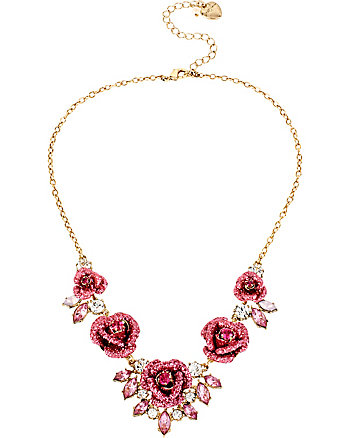 GLITTER ROSE FRONTAL NECKLACE