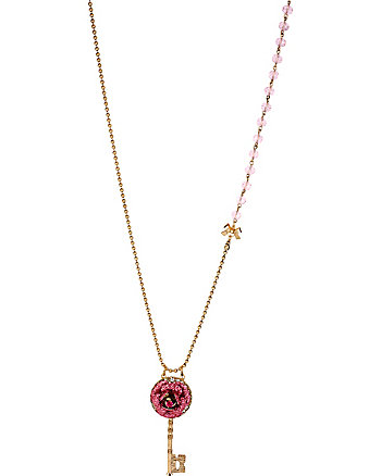 GLITTER ROSE KEY LONG PENDANT