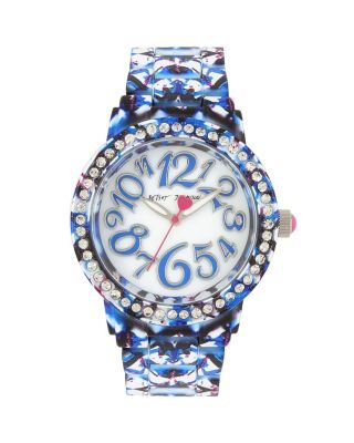 GRAFFITI PRINT RUBBERIZED WATCH BLUE