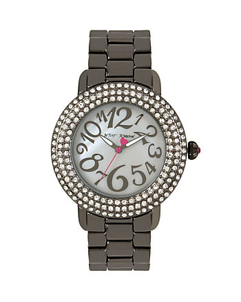 GUNMETAL AND CRYSTAL WATCH