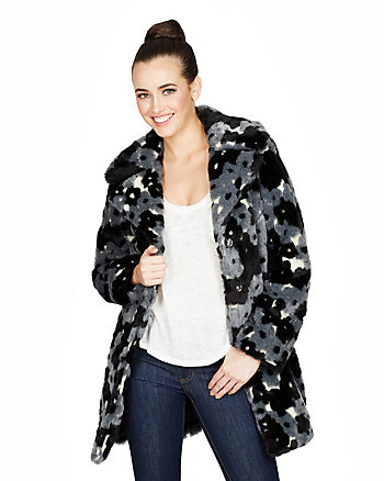 HAPPY FLOWER FAUX FUR JACKET