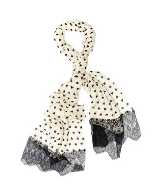 HEART DOTS LACE TRIMMED SCARF IVORY