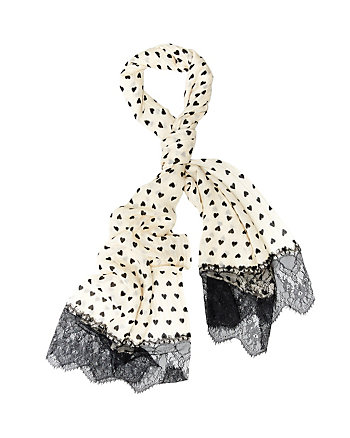HEART DOTS LACE TRIMMED SCARF