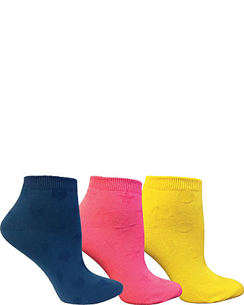 HEART STAR DOT 3 PACK NO SHOW SOCKS