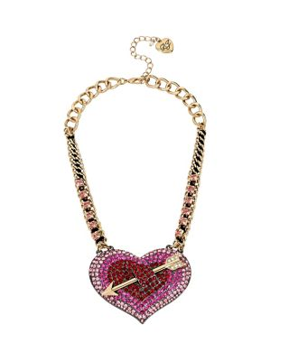 HEARTS AND ARROWS BIG PAVE HEART NECKLACE PINK