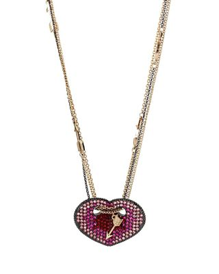 HEARTS AND ARROWS FOLDED HEART PENDANT RED