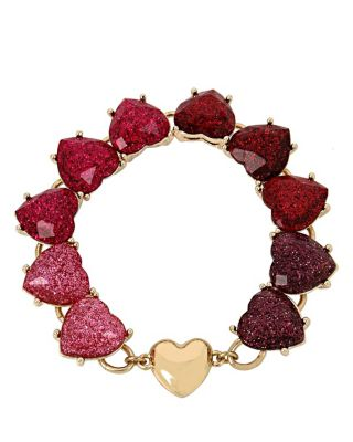 HEARTS AND ARROWS GLITTER HEART BRACELET RED