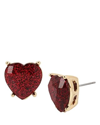 HEARTS AND ARROWS GLITTER HEART STUD EARRINGS RED