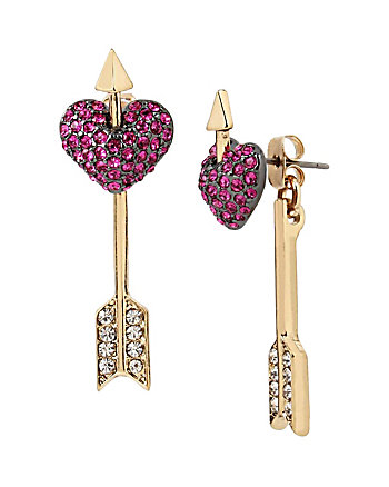 HEARTS AND ARROWS PIERCED HEART EARRINGS