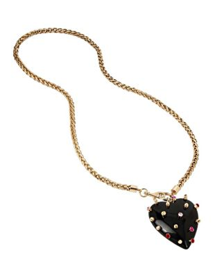 HEARTS AND ARROWS STUDDED RESIN HEART NECKLACE MULTI