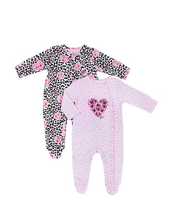 HEARTS AND ROSES FOOTIE ONESIE TWO PACK