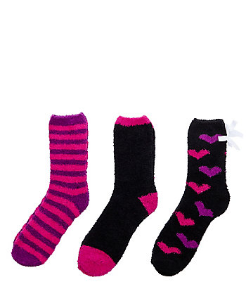 HEARTS AND STRIPES COZY SOCK THREE PACK