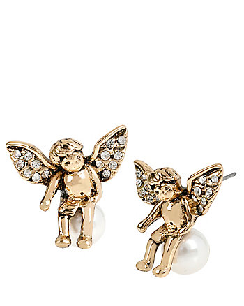 HEAVEN SENT ANGEL PEARL STUD EARRINGS