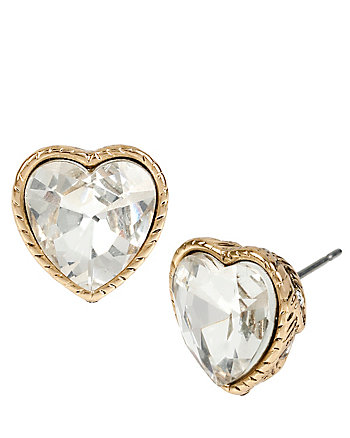 HEAVEN SENT CRYSTAL HEART STUD EARRINGS