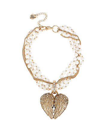 HEAVEN SENT WING HEART TORSADE NECKLACE