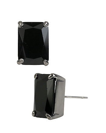 HOLIDAY CZ BLACK EMERALD CUT STUD EARRINGS