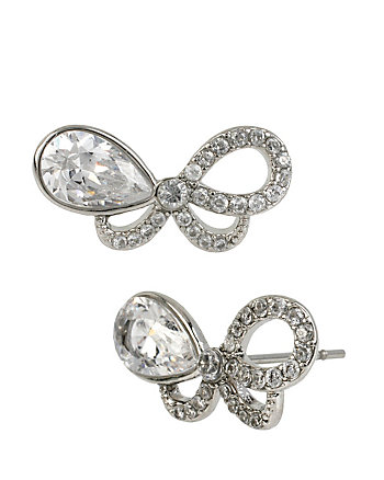 HOLIDAY CZ BOW STUD EARRINGS