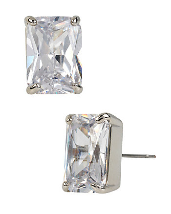 HOLIDAY CZ CRYSTAL EMERALD CUT STUD EARRINGS