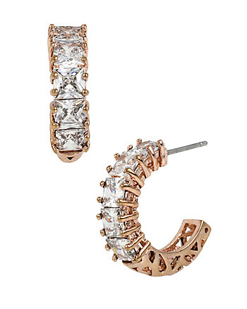 HOLIDAY CZ CRYTAL ROSE GOLD HOOP EARRINGS