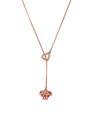 HOLIDAY CZ HEART LARIAT NECKLACE