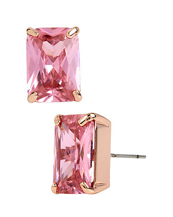 HOLIDAY CZ PINK EMERALD CUT STUD EARRINGS