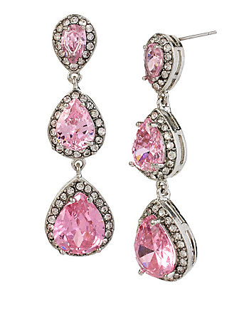 HOLIDAY CZ TEARDROP LINEAR EARRINGS