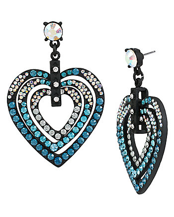 HOLIDAY PARTY BLUE HEART DROP EARRINGS