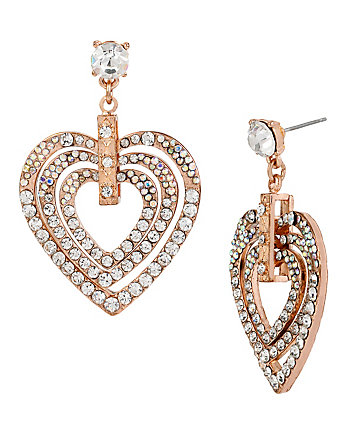 HOLIDAY PARTY CRYSTAL HEART DROP EARRINGS