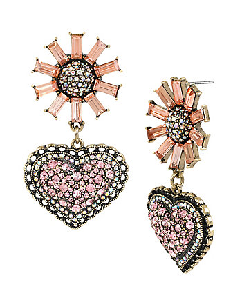 HOLIDAY PARTY FLOWER HEART DROP EARRINGS