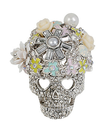 HOLIDAY PARTY FLOWER SKULL RING