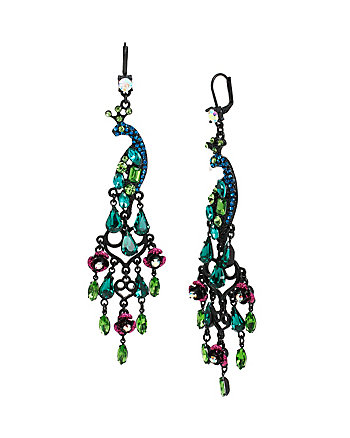 HOLIDAY PARTY PEACOCK CHANDELIER EARRINGS