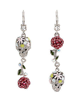 HOLIDAY PARTY SKULL FLOWER DROP EARRINGS