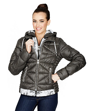 HOODED MARSHMALLOW JACKET WITH TRIM