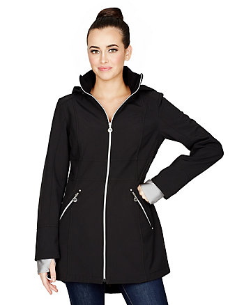 HOODED SOFTSHELL JACKET WITH CONTRAST TRIM