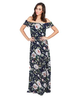 IN THE GARDEN MAXI DRESS NAVY MULTI