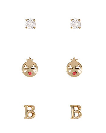 INITIAL B TRIPLE STUD EARRING SET