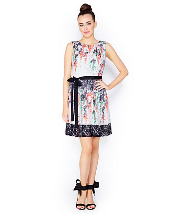 LACE TRIMMED ABSTRACT FLORAL DRESS