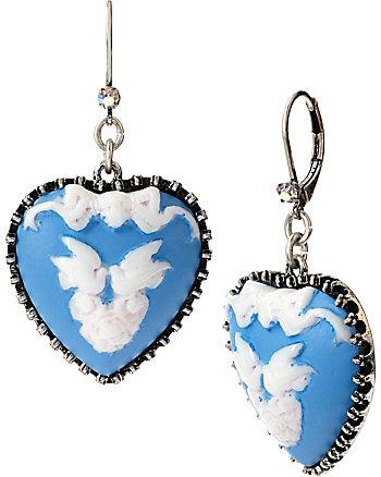 LADY LOCK HEART LOVE BIRDS DROP EARRINGS