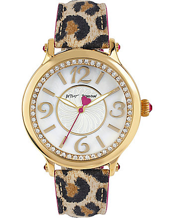 LEAPIN LEOPARD CRYSTAL ACCENTS WATCH